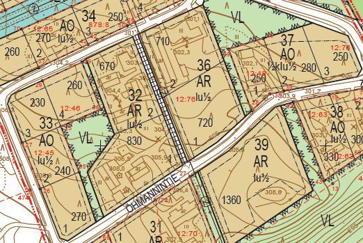 Kortteleiden 33, 36, 37 ja 39 sijoittuminen Öhmannintien varteen.