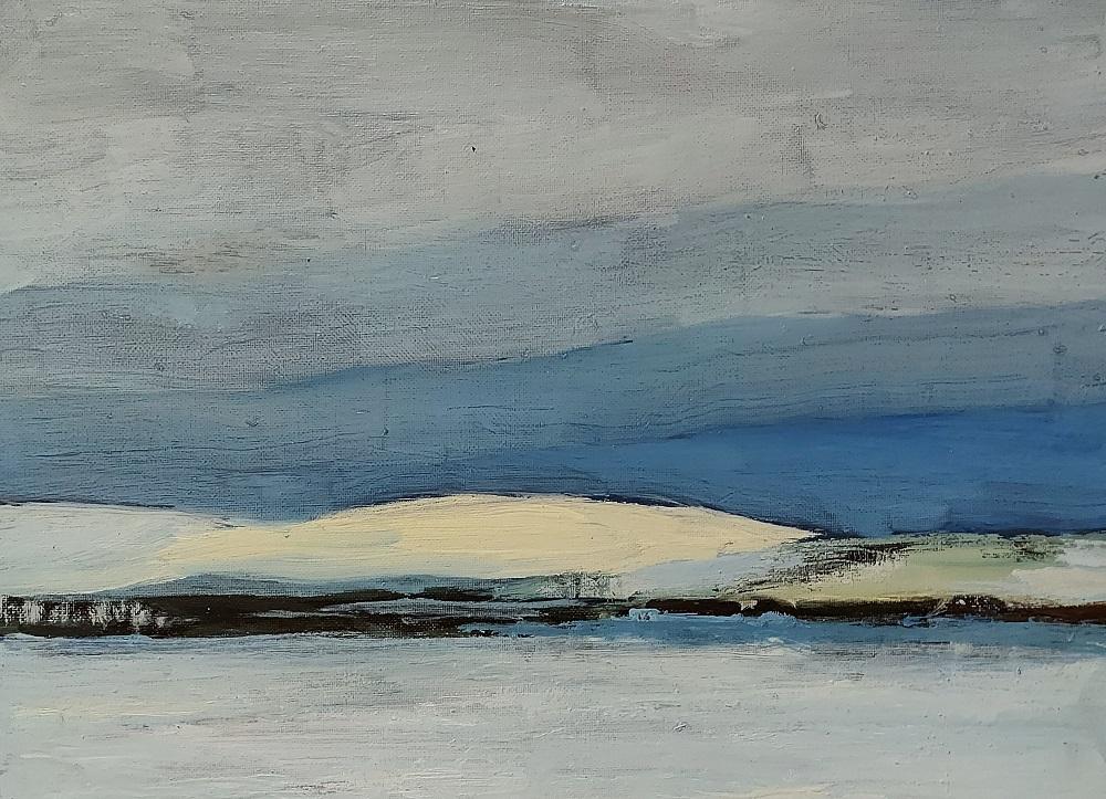 Maalaus, jossa lumiset, valkoiset tunturit taustalla. Sinertävä taivas ja valkoinen, jääätynyt järvi.